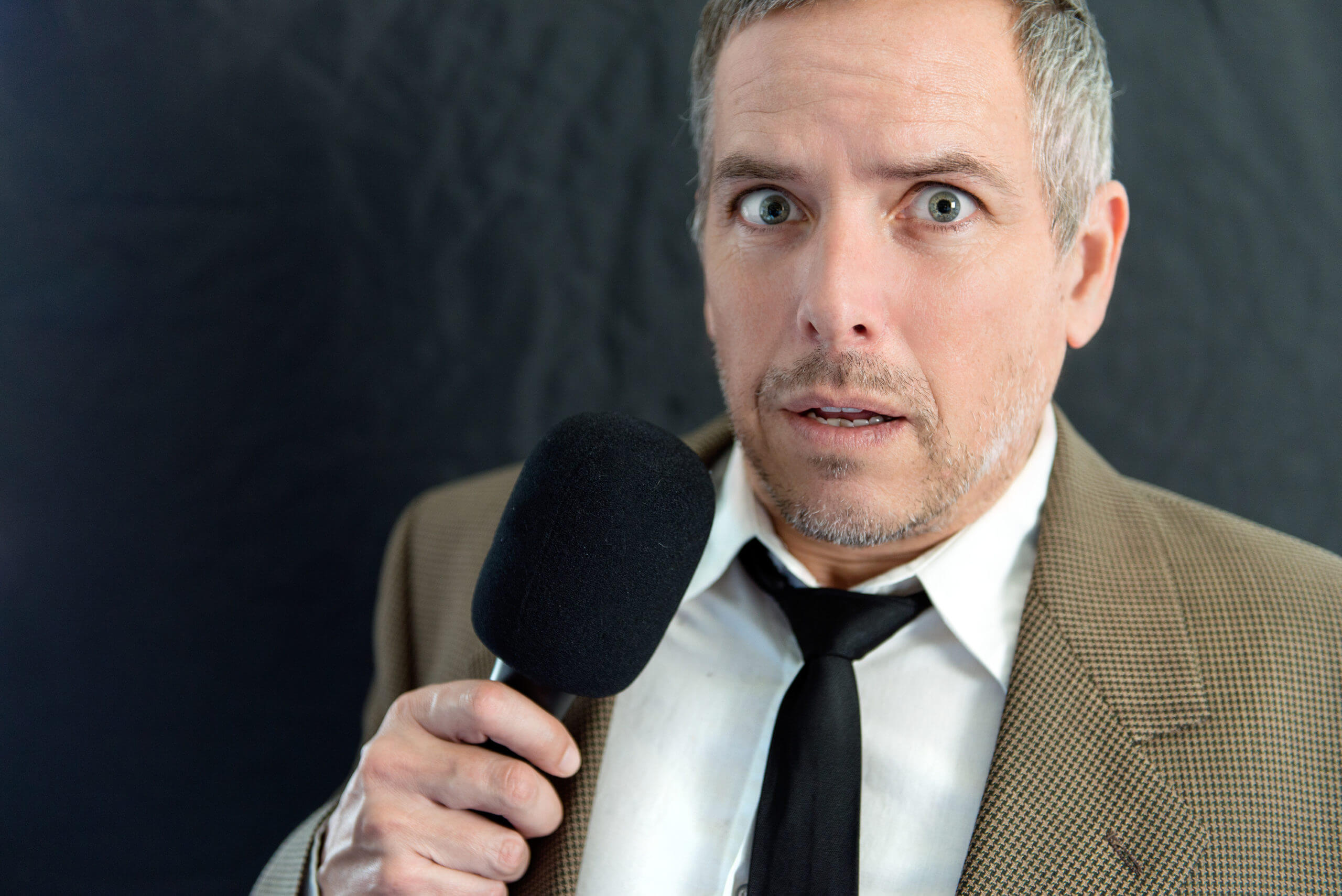 man having anxiety when speaking
