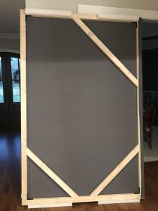 Backdrop I built using cheap lumber from my home improvement store.